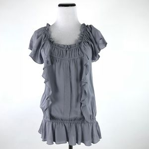 Express Flutter Drop Waist Cap Sleeve Blouse #1550